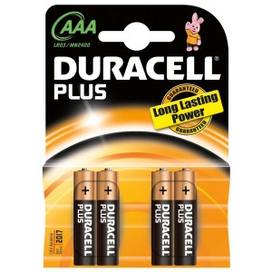 Duracell Plus AAA batterij LR03 blister van 4 stuks