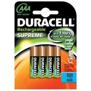 Duracell Supreme oplaadbare AAA batterij LR03 blister van 4 stuks