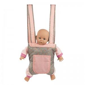 Mini Mommy Poppendraagzak Deluxe grijs met roze 26cm